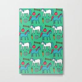 Horses- Aqua Metal Print