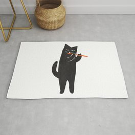 Black cat with flute Rug