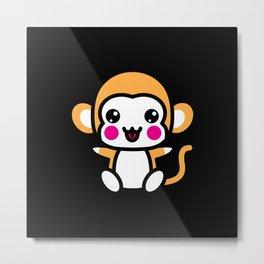 Kawaii Cute Monkey Gift Idea Motif Design Metal Print