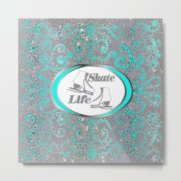 Figure Skates in Silver Glitter with Mint Swirls and Dots Design Metal Print