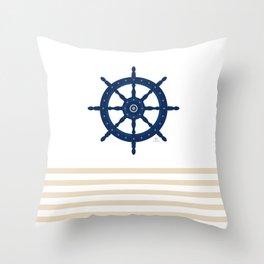 AFE Sapphire  Blue Helm Wheel Throw Pillow