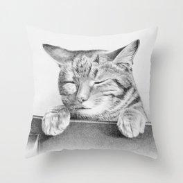 Sleepy Cat Drawing - Black White Graphic Throw Pillow