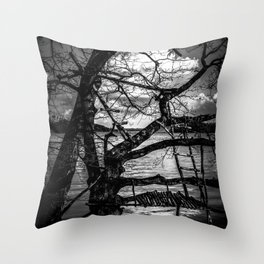 Real Life Ladders Game At Möhne Reservoir Lake bw Throw Pillow