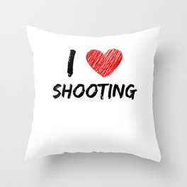 I Love Shooting Throw Pillow
