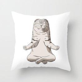 Meditating Scottish Fold Cat Throw Pillow