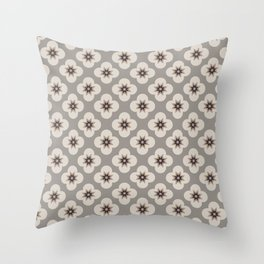 Starburst Floral, Greige background Throw Pillow