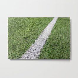 Sideline football field, Sideline chalk mark artificial grass soccer field Metal Print