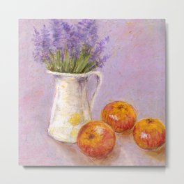 Still life with lavender and apples - pastel texture Metal Print