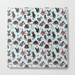 Spring Bunny Rabbits Forest Floral Metal Print