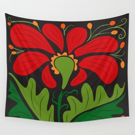 Big Red Dahlia (abstract hand-drawn flower) Wall Tapestry