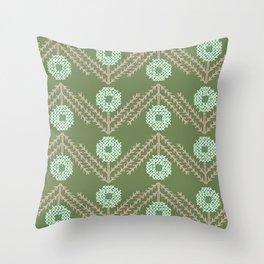 Geometric Meadow Nordic Folk Art Throw Pillow