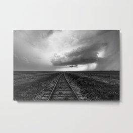 A Dreamer's Journey - Railroad Tracks and Storm in Black and White Metal Print