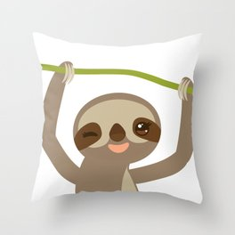 funny and cute smiling Three-toed sloth on green branch 2 Throw Pillow