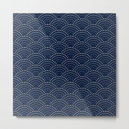Japanese Blue Wave Seigaiha Indigo Super Moon Pattern Metal Print