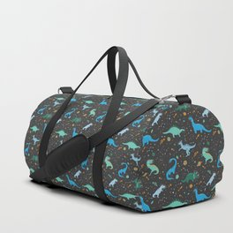 Dinosaurs in Space in Blue Duffle Bag