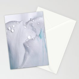 White tulip with water drops 27 Stationery Cards