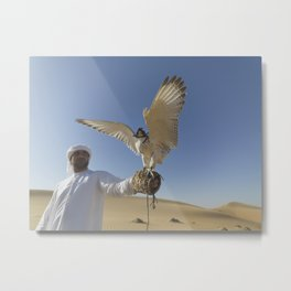 Falconer With Hooded Falcon In The Desert Metal Print