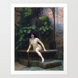 TRUTH COMING OUT OF HER WELL TO SHAME MANKIND - JEAN-LEON GEROME Art Print