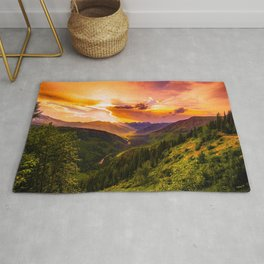 Beautiful Sunset Mountains Valley Landscape Rug