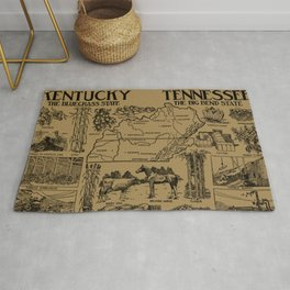 Vintage Illustrative Kentucky and Tennessee Map (1912) - Tan Rug