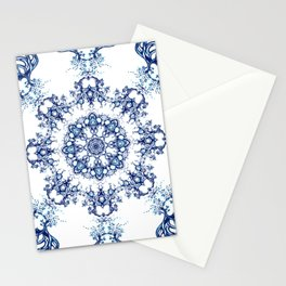blue garden mandala Stationery Cards