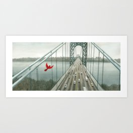 Red and the George Washigton Bridge Art Print