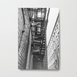 Manchester Fire escape on an old mill building. Metal Print