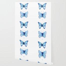 Two Blue Butterflies Watercolor Wallpaper