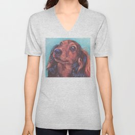 The long haired Dachshund from an original painting by L.A.Shepard Unisex V-Neck