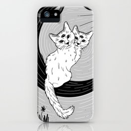 Two Headed Three Eyed Cat Digital Drawing iPhone Case