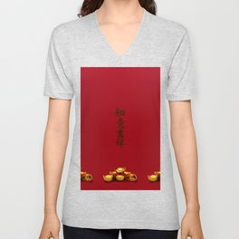Chinese New Year Greeting Unisex V-Neck