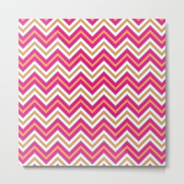 Chevron Pattern | Zig Zags | Pink, Orange, Black and White | Metal Print