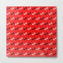 Tiny Dragonflies on red Metal Print