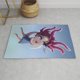 Axolotl Girl in the Sea Rug