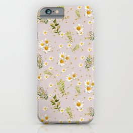 White Daisies Field Pattern Flowers iPhone Case