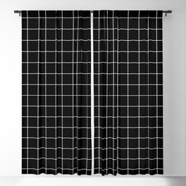 Grid Pattern Line Stripe Black and White Minimalist Geometric Stripes Lines Blackout Curtain