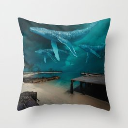 Night Whale Watching Throw Pillow
