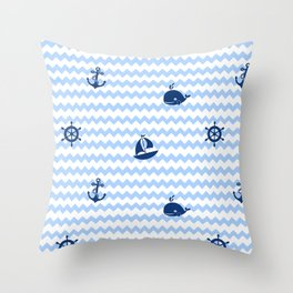 Nautical Navy Blue Chevron Baby Boy Nursery Throw Pillow