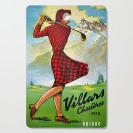 Vintage Villars Switzerland Golf Travel Poster Cutting Board