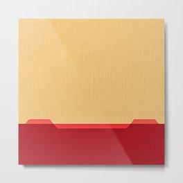 Dark coral red and Beige Line Metal Print