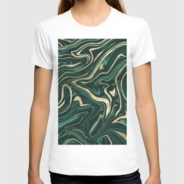 Emerald Green Black Gold Marble #1 #decor #art #society6 T-shirt