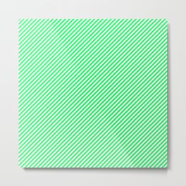 Mini Lanai Lime Green - Acid Green and White Candy Cane Stripe Metal Print
