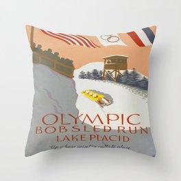 Vintage poster - Lake Placid Throw Pillow