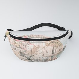 Positano, Italy Amalfi coast pink-peach-white travel photography in hd Fanny Pack
