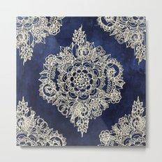 Cream Floral Moroccan Pattern on Deep Indigo Ink Metal Print