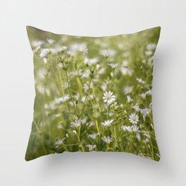 Summer meadow flowers Throw Pillow