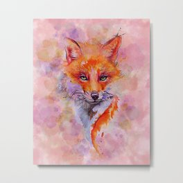Watercolor colorful Fox Metal Print