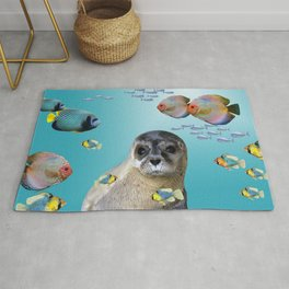 Tropic Fishes with seal - sea lion Rug