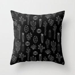 Cactus Silhouette White And Black Throw Pillow