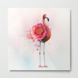 digital painting of Pink flamingo with flower Metal Print